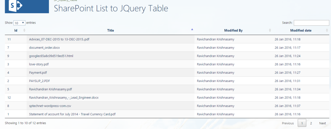 SharePoint List to JQuery Table – RAVICHANDRAN BLOG