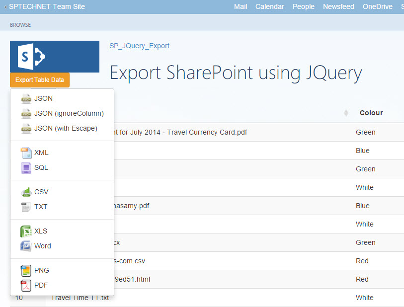 Export SharePoint List to Excel, Word, JSON, XML, SQL, CSV, TXT or