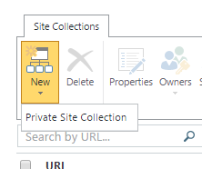 New Site Collection Button