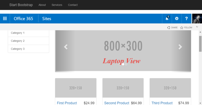 SharePoint laptop view