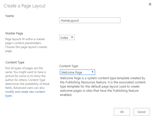 sharepoint new page layout popup