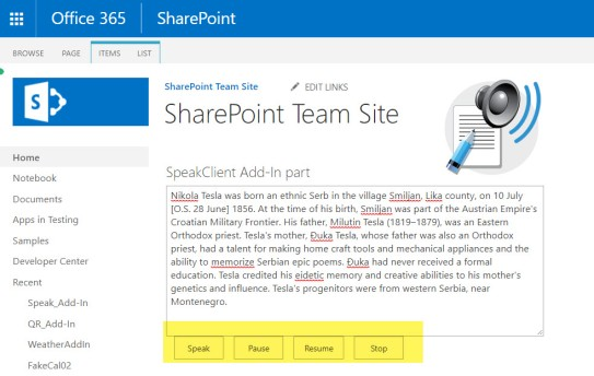 SharePoint Text to Speak