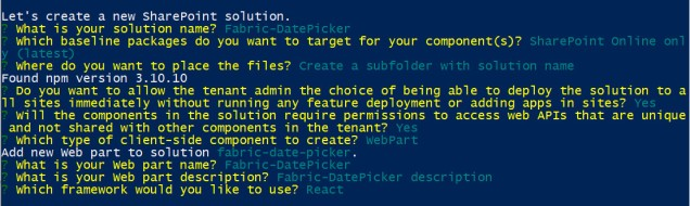 Fabric React DatePicker in SPFx create web part