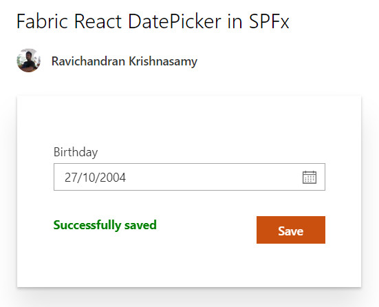 Fabric React DatePicker in SPFx